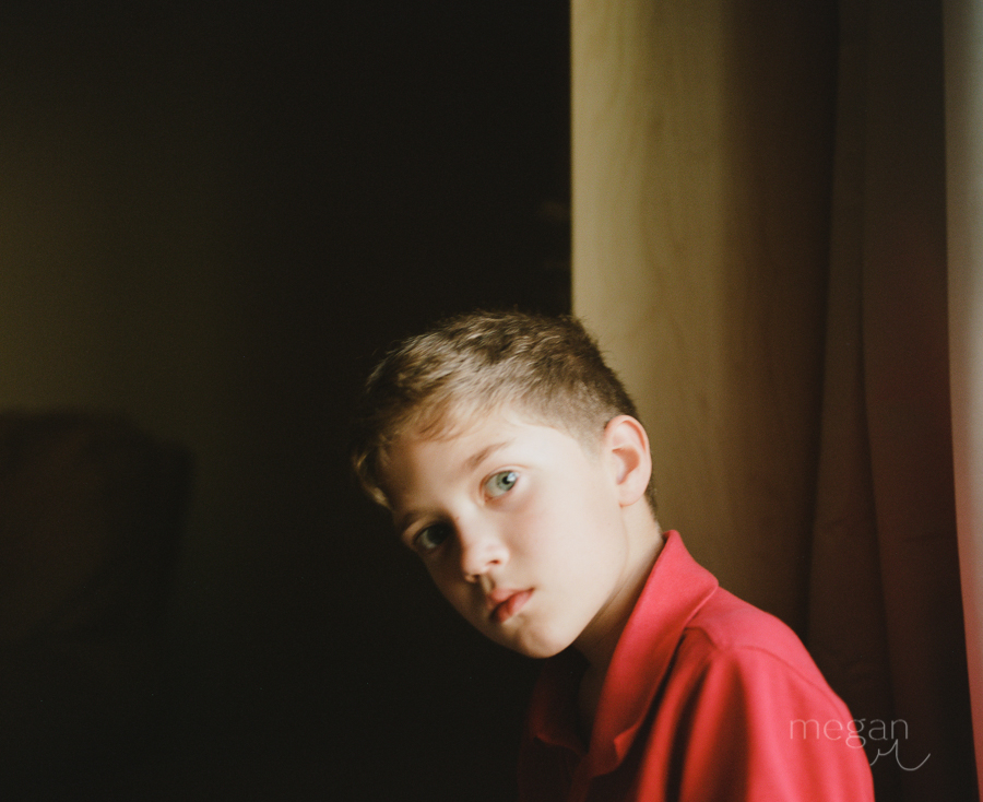 soft focus portrait of boy on portra 400