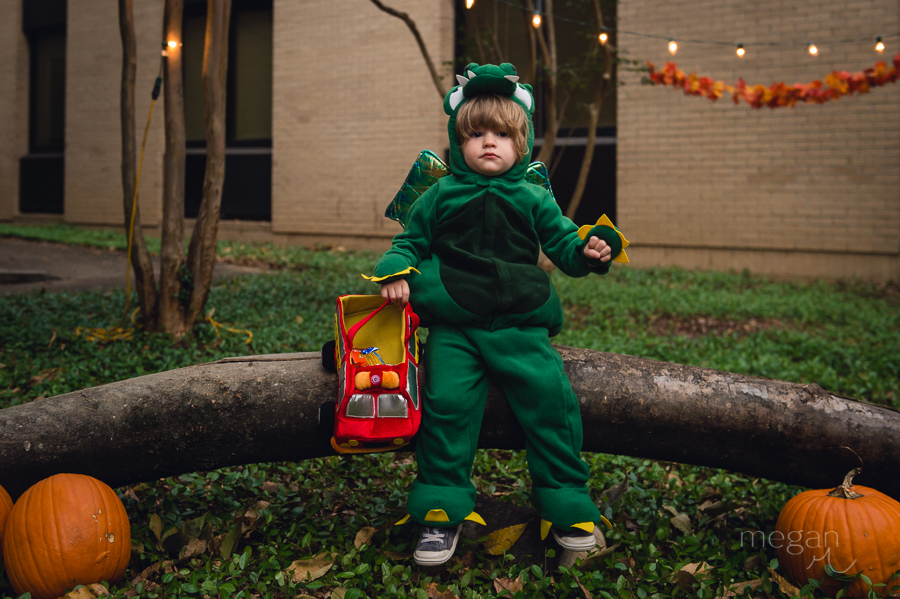 Child dressed up for halloween as a dragon