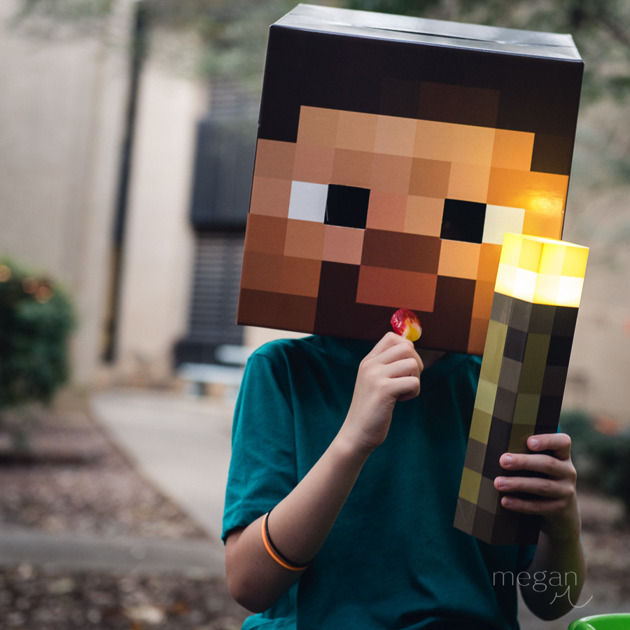 a child in minecraft steve costume holds a sucker