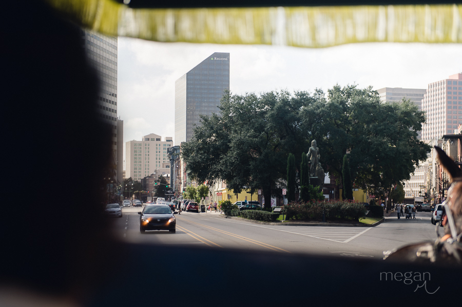 photo of downtown new orleans from inside a carriage