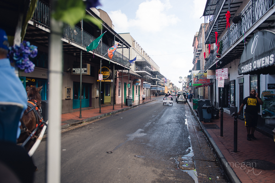 street scene in the morning in the french quarter of new orleans