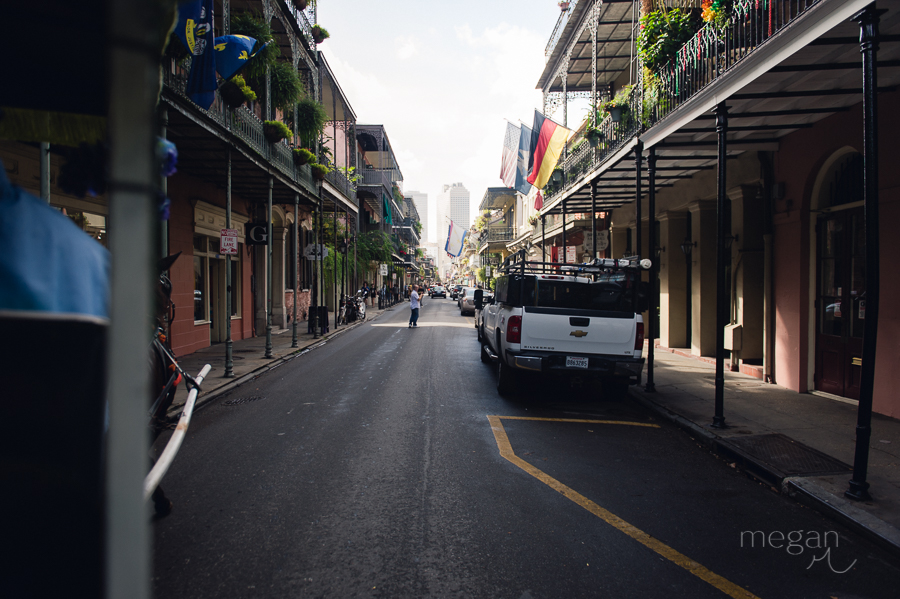 Looking down a street in New orleans French quarter towards downtown