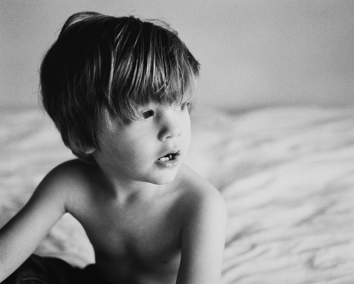 portrait of toddler in black and white on ilford 3200 by megan cieloha