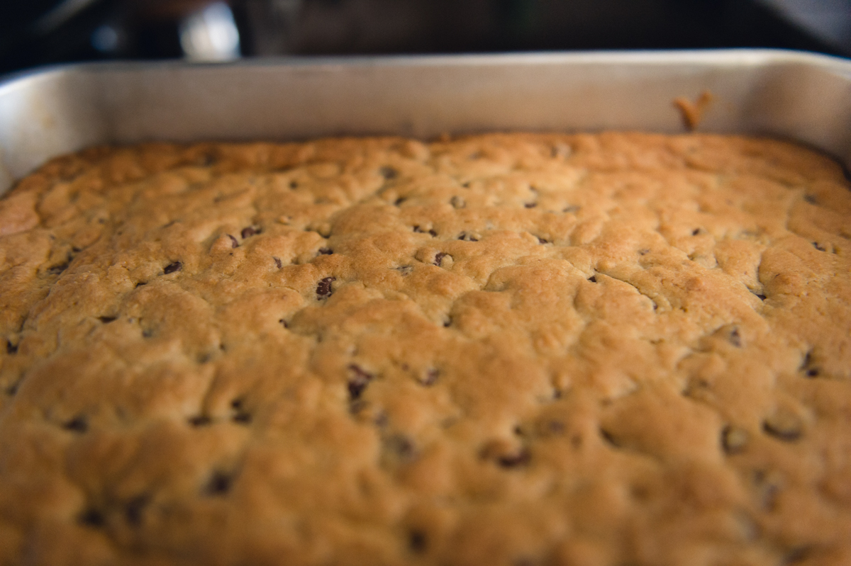 chocolate chip bar cookies in natural light by megan cieloha