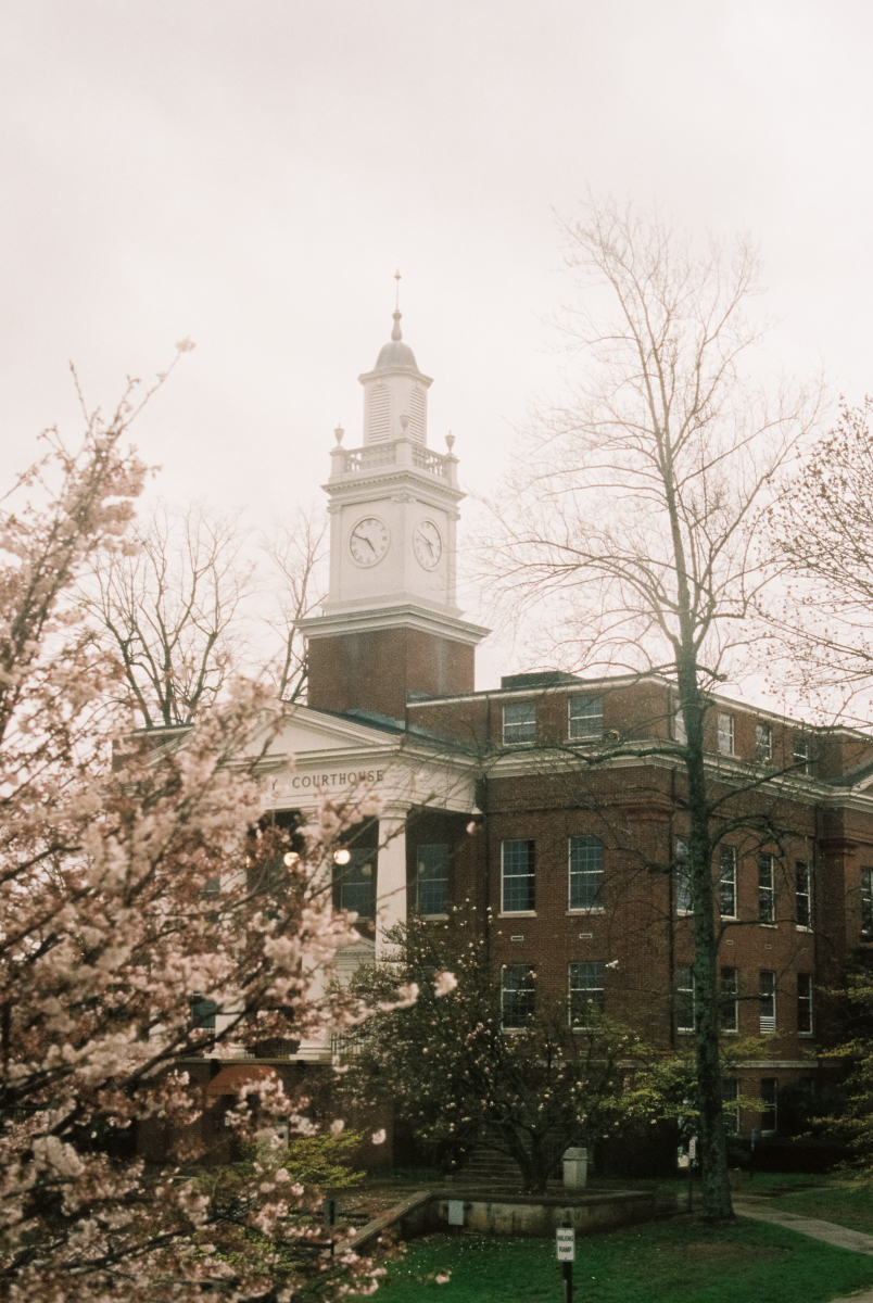 glasgow kentucky town hall with cherry blossoms portra 400 film image in natural light photo by megan cieloha